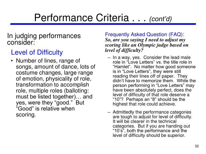 Performance Criteria . . .