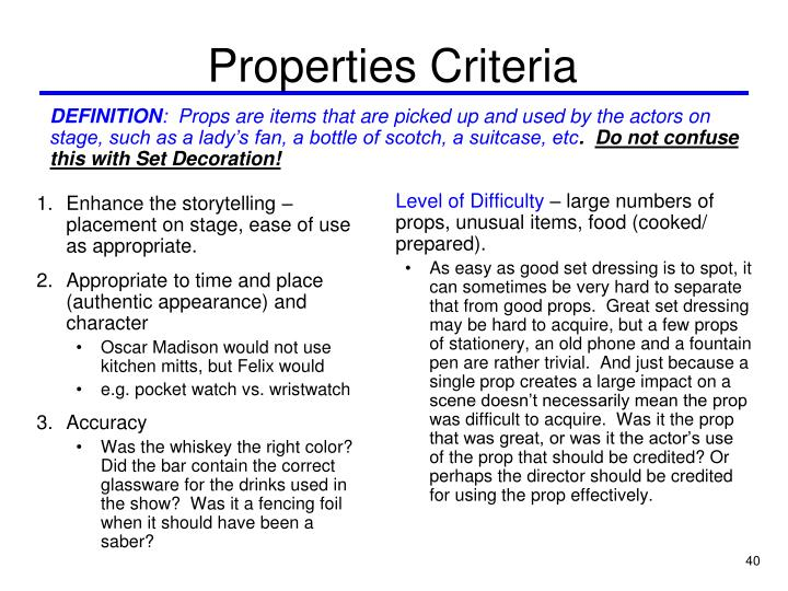 Properties Criteria