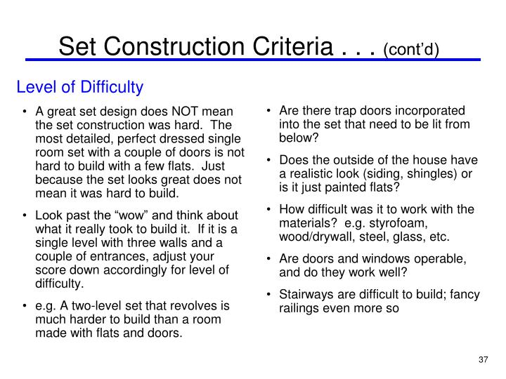 Set Construction Criteria . . .