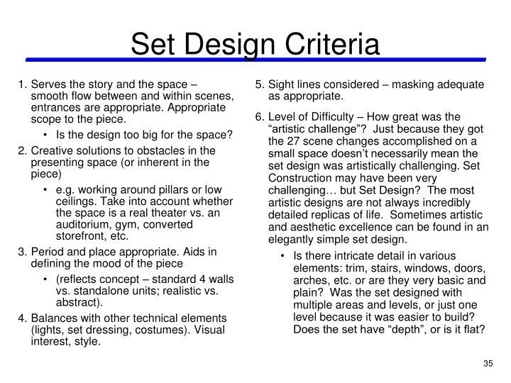 Set Design Criteria