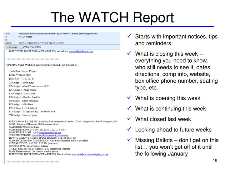 The WATCH Report