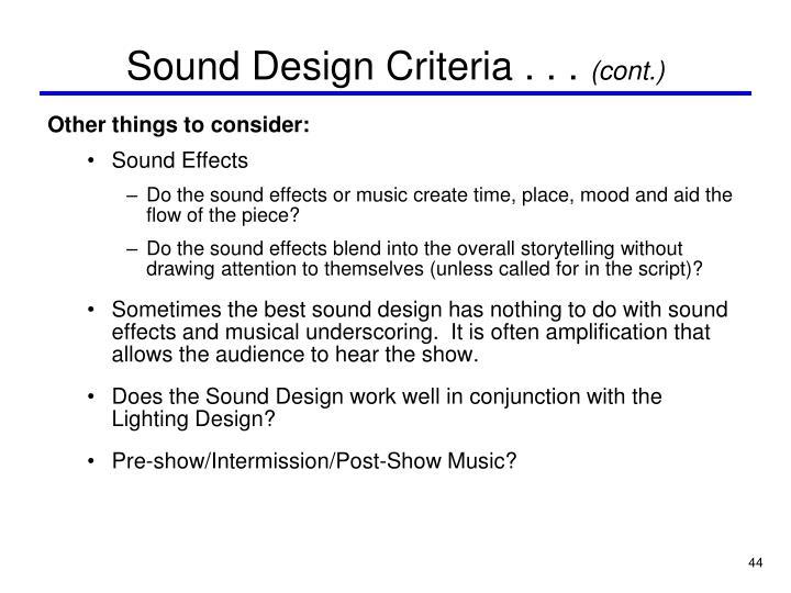 Sound Design Criteria . . .