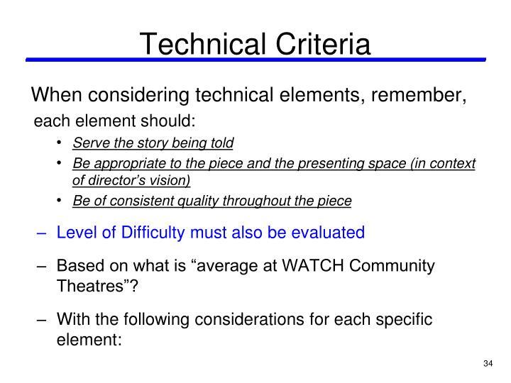 Technical Criteria