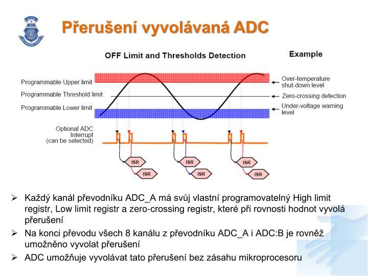 Přerušení vyvolávaná ADC