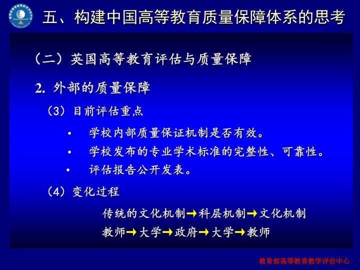 五、构建中国高等教育质量保障体系的思考