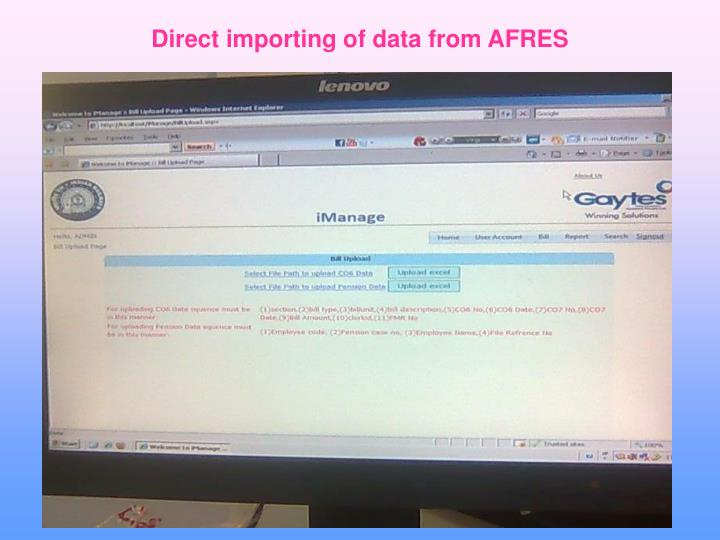 Direct importing of data from AFRES