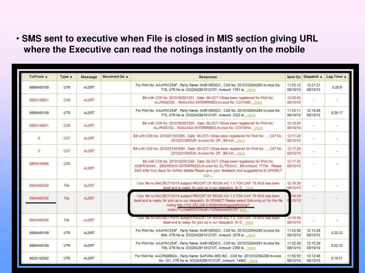 SMS sent to executive when File is closed in MIS section giving URL