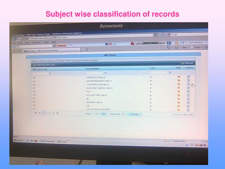 Subject wise classification of records