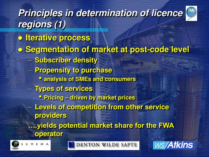 Principles in determination of licence regions (1)