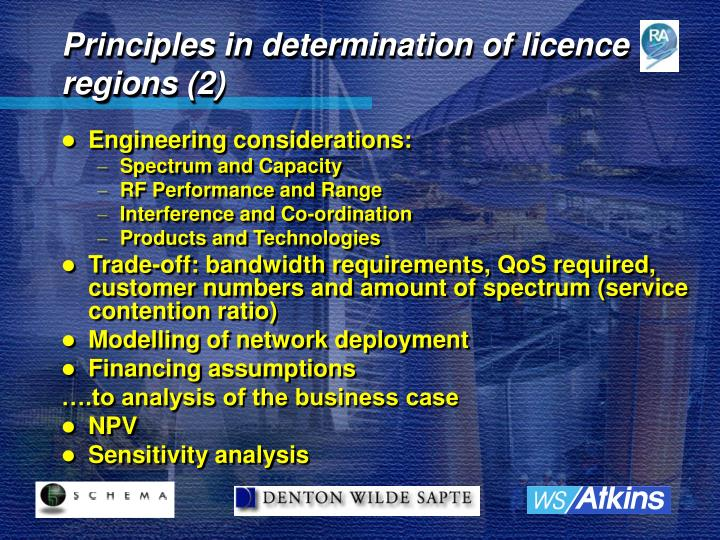 Principles in determination of licence regions (2)