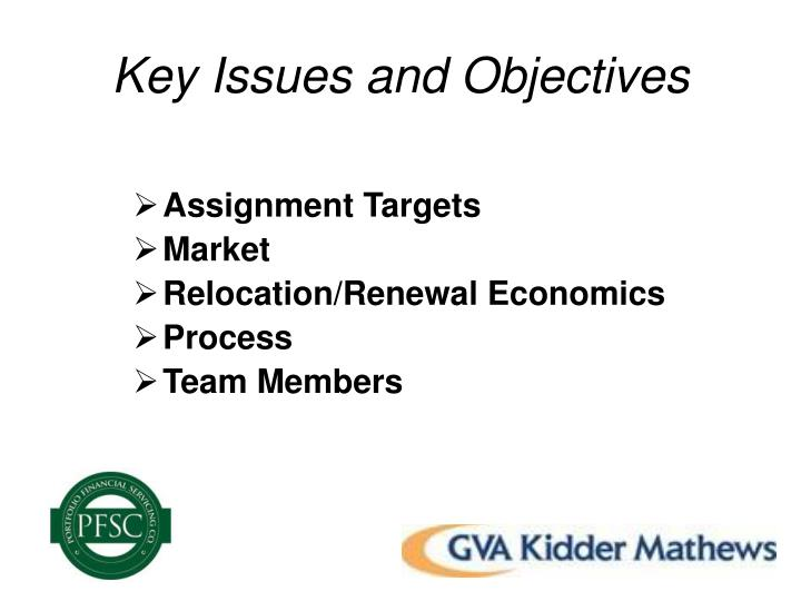 Key issues and objectives