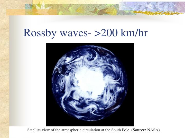 Rossby waves- >200 km/hr
