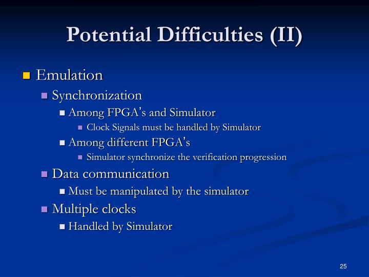 Potential Difficulties (II)