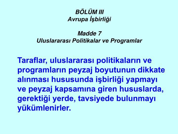 BÖLÜM III