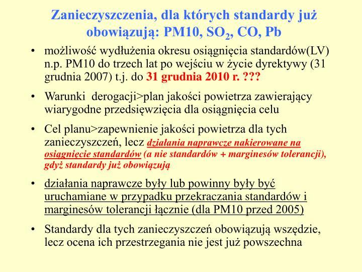 Zanieczyszczenia, dla których standardy już obowiązują: PM10, SO