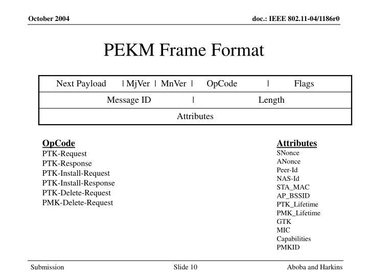PEKM Frame Format