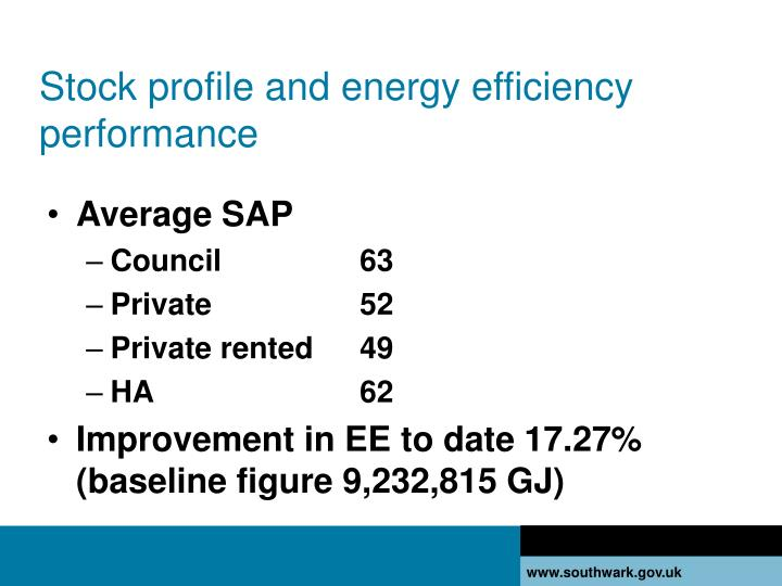 Stock profile and energy efficiency performance