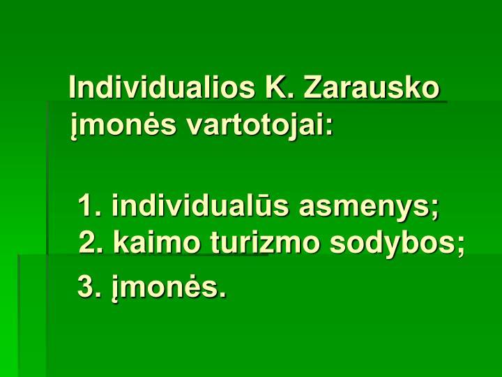 Individualios K. Zarausko įmonės vartotojai: