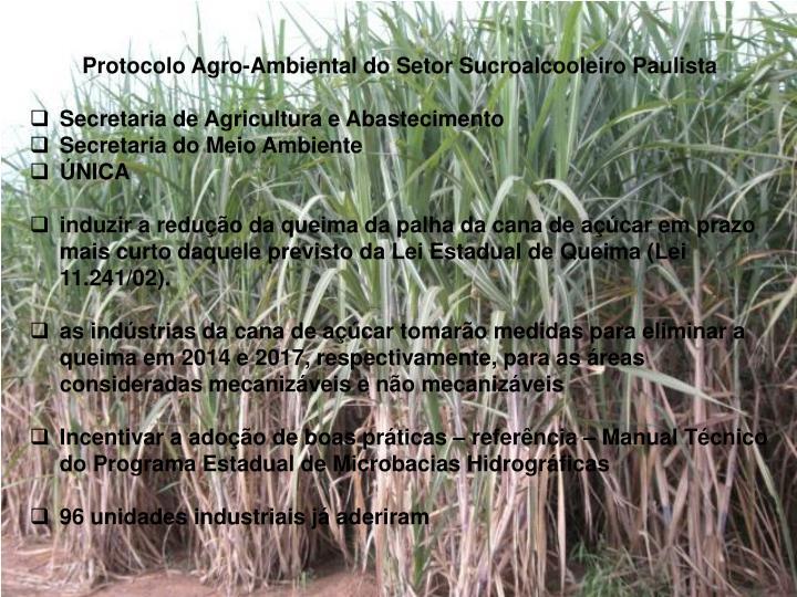 Protocolo Agro-Ambiental do Setor Sucroalcooleiro Paulista
