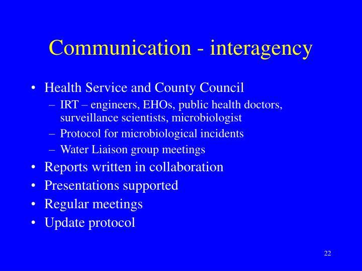 Communication - interagency