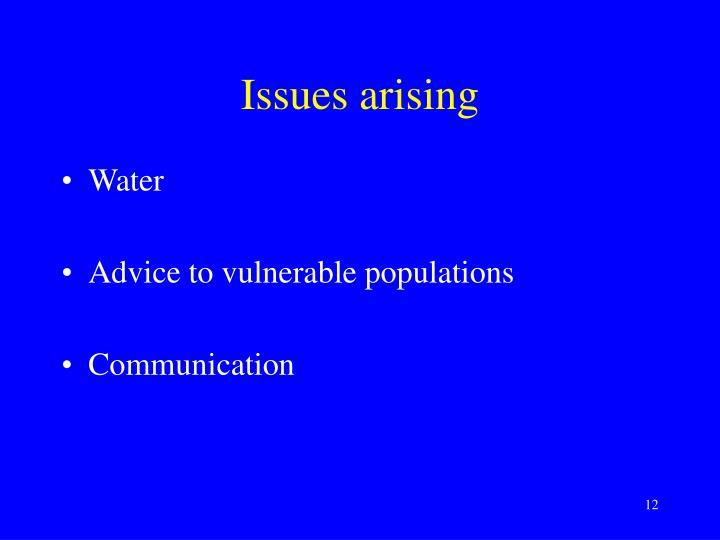 Issues arising