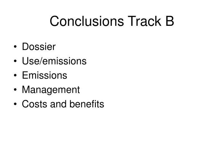 Conclusions Track B