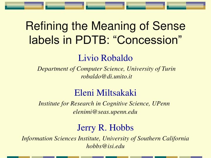 Refining the meaning of sense labels in pdtb concession