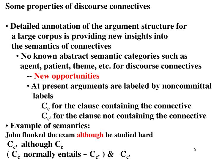 Some properties of discourse connectives