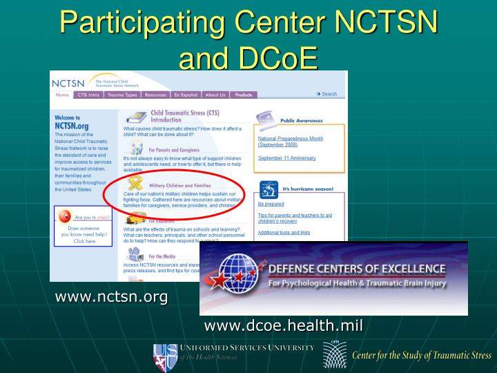 Participating Center NCTSN and DCoE