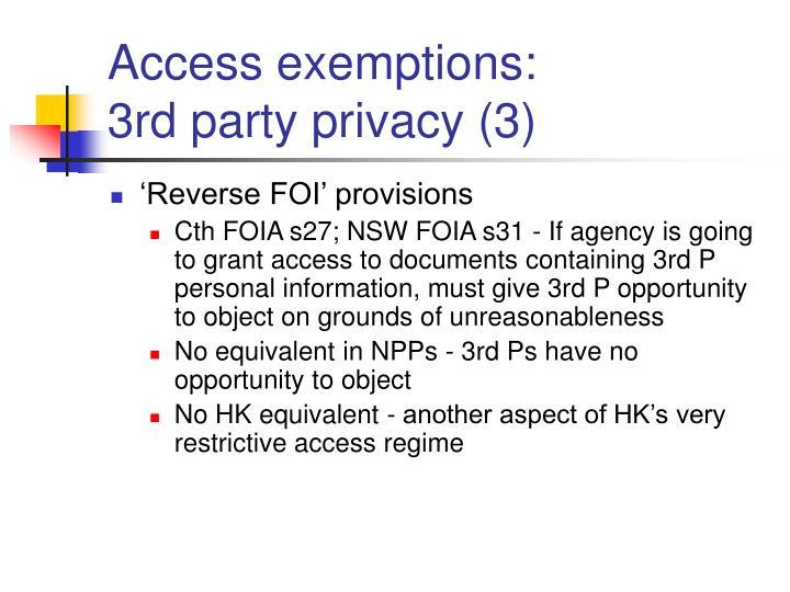 Access exemptions: