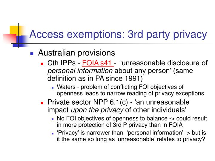Access exemptions: 3rd party privacy