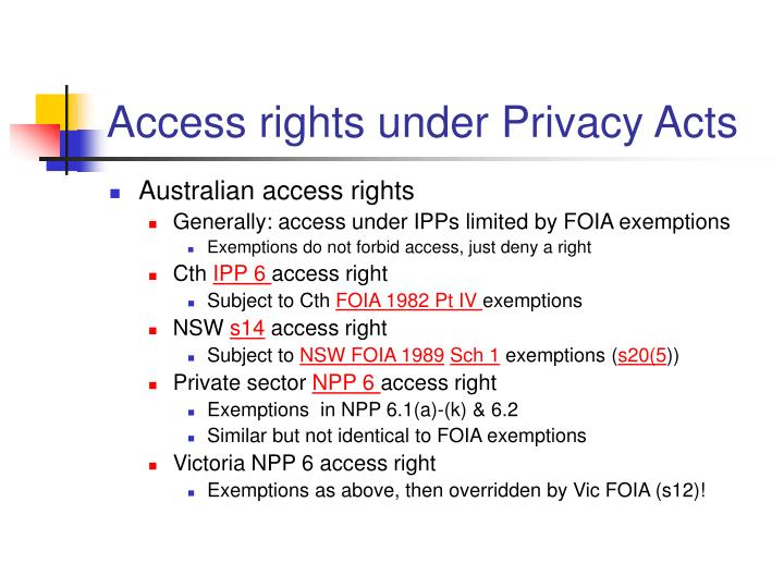 Access rights under privacy acts