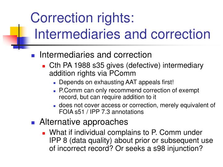 Correction rights: