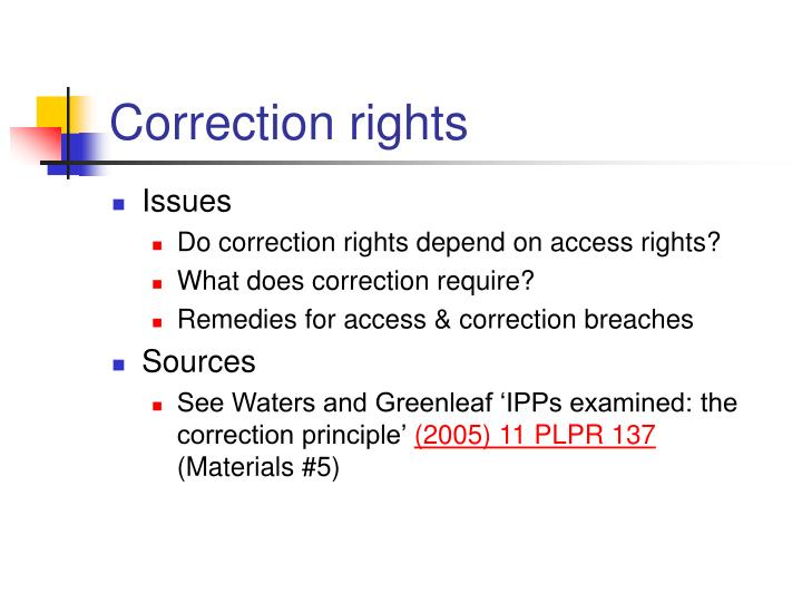 Correction rights