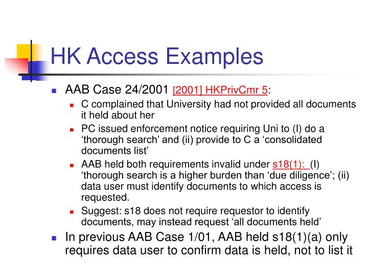 HK Access Examples