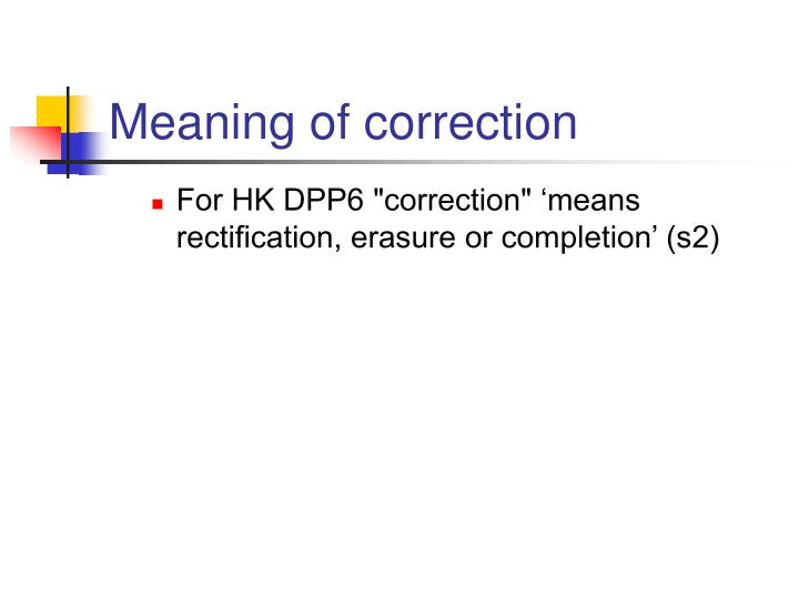 Meaning of correction