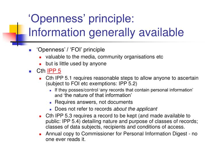 'Openness' principle: