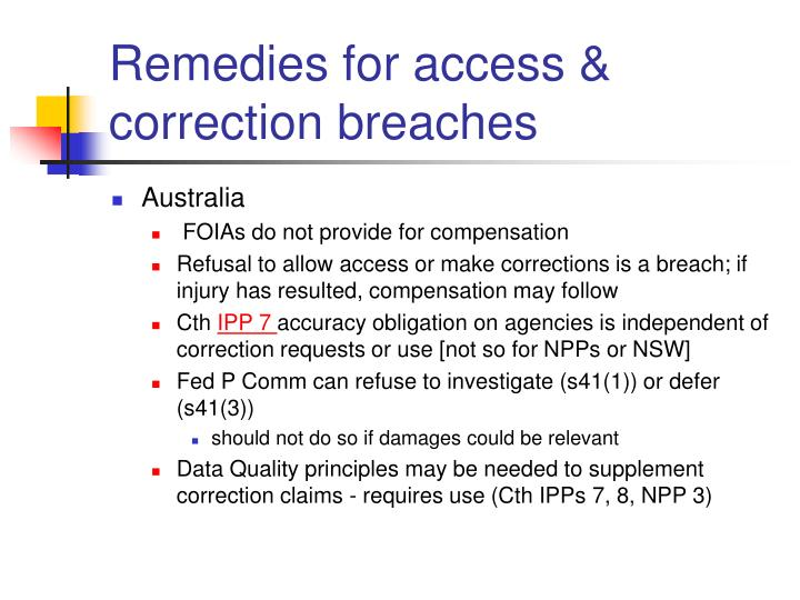 Remedies for access & correction breaches