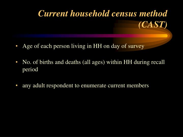 Current household census method