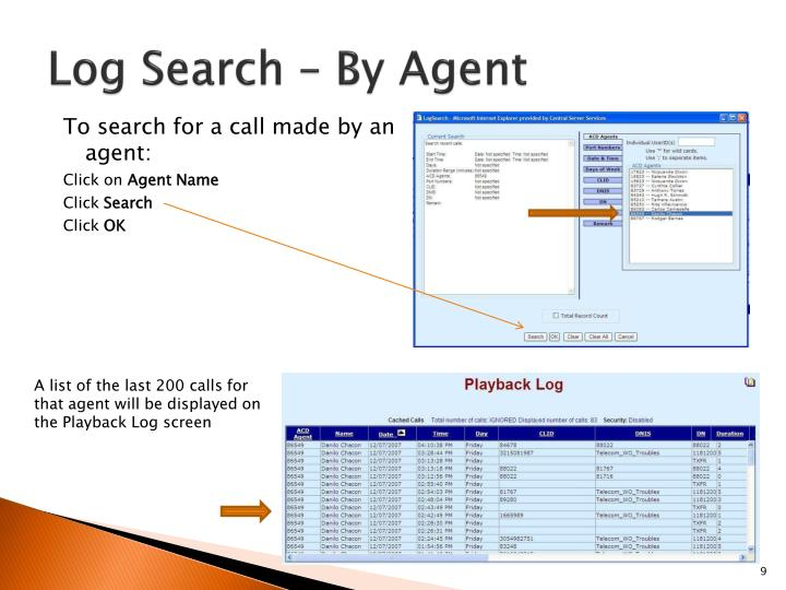 Log Search – By Agent