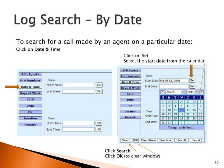 Log Search – By Date