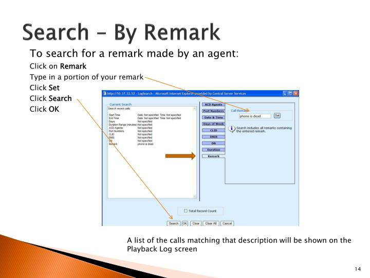 Search – By Remark
