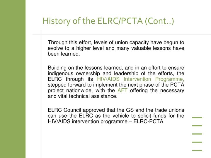 History of the elrc pcta cont