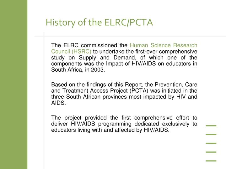 History of the ELRC/PCTA