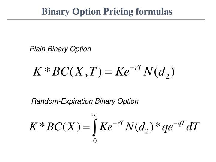 Binary Option Pricing formulas