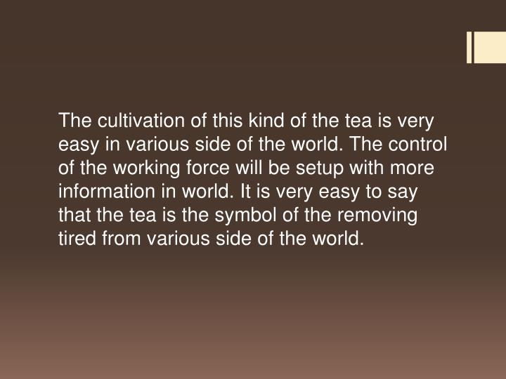 The cultivation of this kind of the tea is very easy in various side of the world. The control of the working force will be setup with more information in world. It is very easy to say that the tea is the symbol of the removing tired from various side of the world.