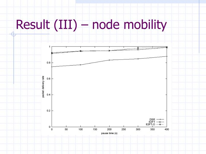 Result (III) – node mobility