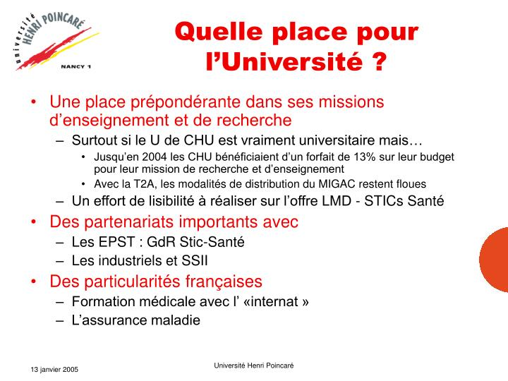 Quelle place pour l'Université ?