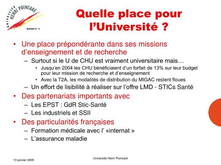 Quelle place pour l'Université ?