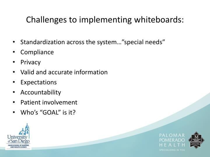 Challenges to implementing whiteboards: